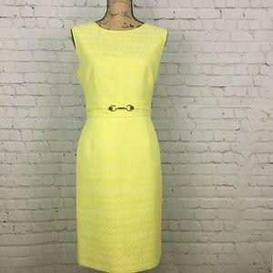 Tahari Arthur S Levine Sheath Dress  Yellow Gold